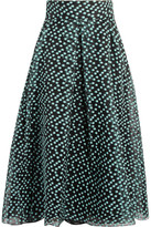 Lela Rose Polka-dot Organza Skirt - Gray green