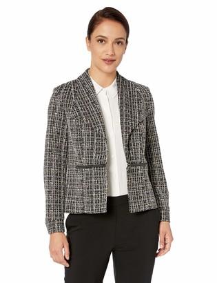 Kasper Women's Petite Wing Lapel Jacquard Jacket W/Front Zipper Details