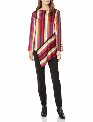 Vince Camuto Women's Asymmetric Hem Mayfair Stripe Blouse