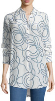 MiH Jeans Rope-Print Simple Silk Shirt, Salty Blue