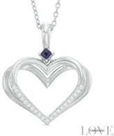 Zales The Kindred Heart of the Vera Wang LOVE Collection Diamond Accent and Blue Sapphire Pendant in Sterling Silver