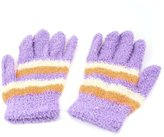 uxcell Women Fuzzy Stripes Print Knitting Full Fingers Soft Warm Gloves Pair