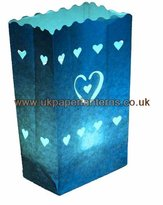Storm Blue Twin Line Hearts Candle Paper Bag Lantern Luminaire X 10