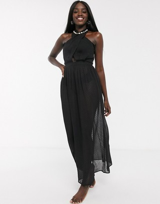 Glamorous Exclusive cross front beach dress in black