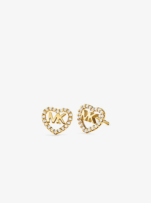 Michael Kors Precious Metal-Plated Sterling Silver Pave Heart Logo Studs - Gold