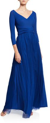 Chiara Boni V-Neck 3/4-Sleeve A-Line Gown with Sheer Skirt Overlay