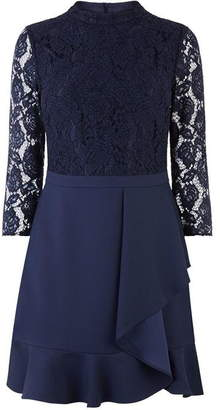 Oasis Lace top flounce shift dress