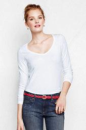 Classic Women's Petite Shaped Layering V-neck T Shirt-Black