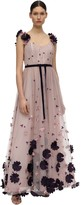 Marchesa FLOWER APPLIQUES SWISS DOT TULLE GOWN