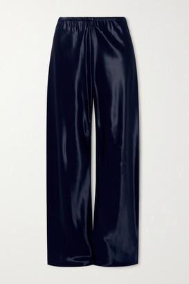 The Row Gala Satin Wide-leg Pants - Navy