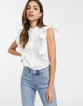 Asos Design DESIGN sleeveless shirt with frill detail in cotton-White