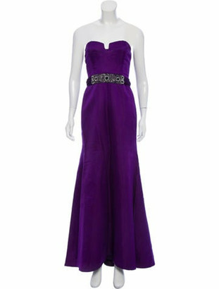 Reem Acra Strapless Embellished Dress Purple