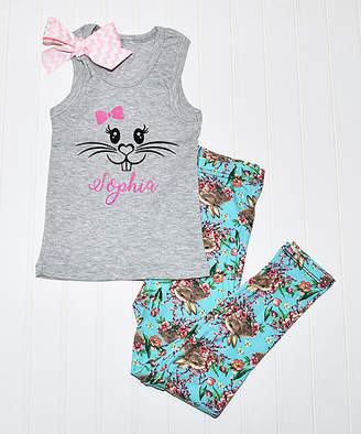 Beary Basics Girls' Leggings GRAY - Gray Bunny Face Personalized Name Tank & Blue Floral Leggings - Toddler & Girls