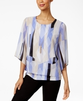 JM Collection Petite Printed Layered Necklace Top, Created for Macy's