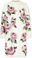 Dolce & Gabbana Rose Print Fur Coat
