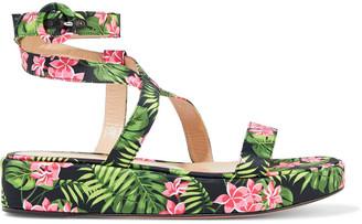 Gianvito Rossi Mahe' Floral-print Silk-satin Platform Sandals