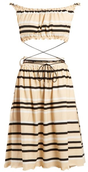J.W.Anderson Off The Shoulder Striped Cotton Dress - Womens - Cream Multi