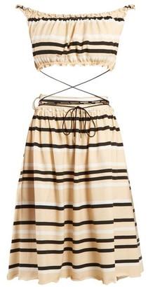J.W.Anderson Off-the-shoulder Striped Cotton Dress - Womens - Cream Multi