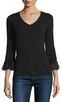 Neiman Marcus 3/4-Sleeve Feather-Trim Cashmere V-Neck Sweater