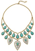 Lucky Brand Etched Turquoise Drop Bib Necklace