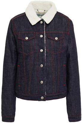 Kenzo Faux Shearling-trimmed Denim Jacket