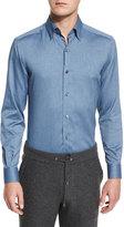 Ermenegildo Zegna Baby Flannel Long-Sleeve Sport Shirt, Dark Blue