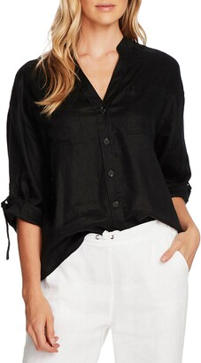Vince Camuto Roll Tab Linen Button-Up Shirt