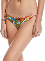 Luli Fama Wavy Scalloped Swim Bottom, Paisley