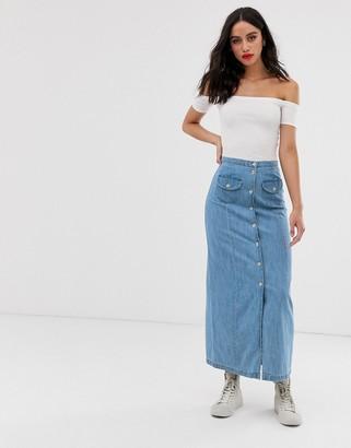 Asos Design DESIGN soft denim button through midi skirt in midwash blue