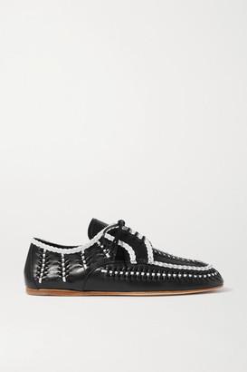 Prada Two-tone Woven Leather Brogues - Black