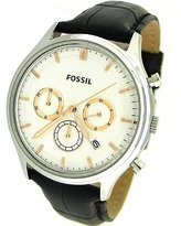 Fossil Men's Ansel FS4640 Black Crocodile Leather Analog Quartz Watch with Dial
