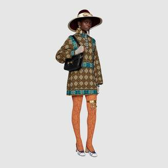 Gucci Lame GG geometric flower wool dress