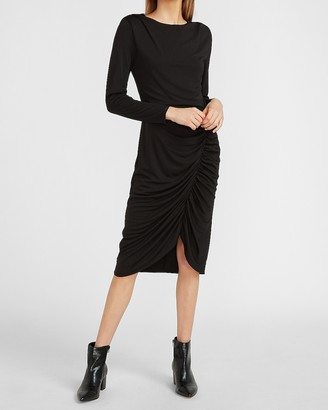 Express Ruched Long Sleeve Sheath Dress