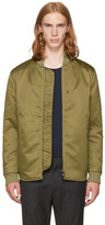 Acne Studios Green Mylon Matt Bomber Jacket