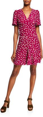 Kate Spade Mallow Dot Short-Sleeve Crepe Dress