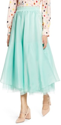 Halogen X Atlantic-Pacific Full Organza Midi Skirt