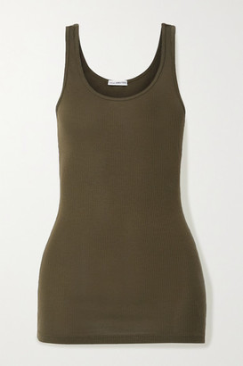 James Perse The Daily Ribbed Stretch-supima Cotton Tank - Green