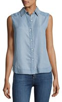 Rag & Bone Mojave Sleeveless Button-Front Tank, Indigo