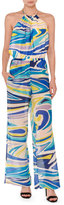 Emilio Pucci Halter Tie-Neck Wide-Leg Jumpsuit, Blue/Multi