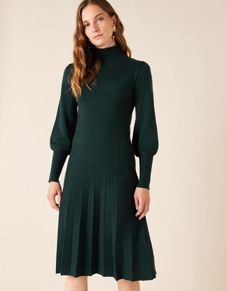 Monsoon Pointelle Yoke Knit Dress with Recycled Fabric Green
