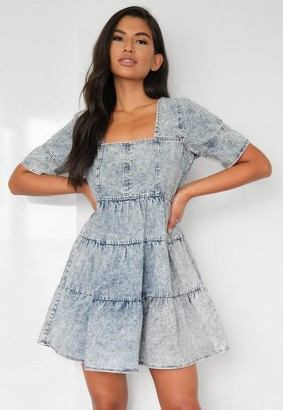 Missguided Blue Square Neck Tiered Denim Dress