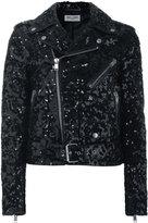 Saint Laurent sequin biker jacket - women - Cotton/Lamb Skin/Polyester/Cupro - 36