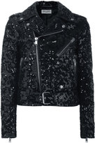 Saint Laurent sequin biker jacket - women - Cotton/Lamb Skin/Polyester/Cupro - 38