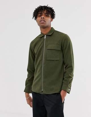 Carhartt Wip WIP Oscar zip through wool mix loose fit shirt in cypress green