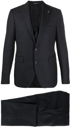 Tagliatore Peaked-Lapel Three-Piece Pique Suit