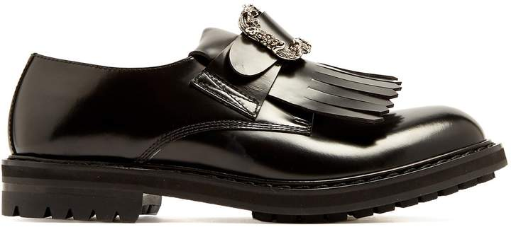 Alexander McQueen Embossed-buckle leather derby shoes