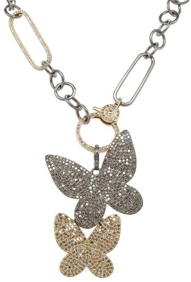 Nina Gilin Black Rhodium-Plated, 14K Yellow Gold & Diamond Double Butterfly Pendant Necklace