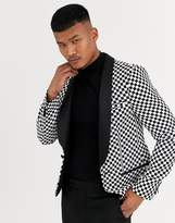 Asos Design ASOS DESIGN skinny tuxedo blazer with race track check in black and white