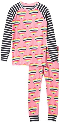 Hatley Rainbow Hearts Raglan PJ Set (Toddler/Little Kids/Big Kids) (Pink) Girl's Pajama Sets