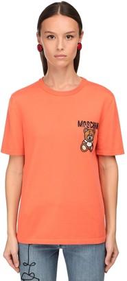 Moschino Cotton Knit T-shirt W/ Embellished Patch